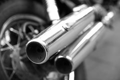 Tailpipes of a motorcycle Stock Photo