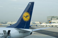 Tailplane of Lufthansa Boeing 737 Stock Images