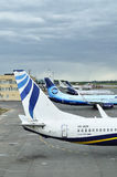 The tails of airplanes standing at the parking in Pulkovo International airport in Saint-Petersburg, Russia Stock Images