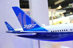 Tails of Boeing 787-10X Dreamliner and 777-300ER models at Singapore Airshow Royalty Free Stock Photography