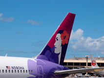 Tails of Hawaiian Airlines and Japan Airlines airplanes Stock Images
