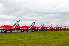 Tails of Red Arrows Jets Royalty Free Stock Images