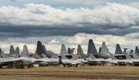 Tails of retired air force planes in Tucson. Tails of many grounded and retired air force planes in the Boneyard near Tucson Arizona stock photo