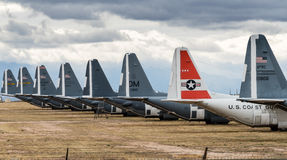Tails of retired air force planes in Tucson. Tails of many grounded and retired air force planes in the Boneyard near Tucson Arizona royalty free stock images