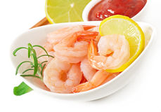 Tails of shrimps with fresh lemon and rosemary Royalty Free Stock Images