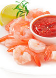 Tails of shrimps. With fresh lemon and rosemary in a white bowl Royalty Free Stock Images