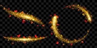 Tails of sparkle stardust in golden colors with hearts. Set of tails of golden glittering stardust with sparkles and small red hearts  on transparent background Stock Photos