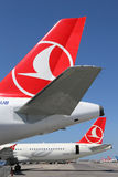 Tails of Turkish Airlines airplanes at Istanbul Atatürk Airport Stock Images