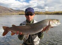 Taimen som fiskar Mongoliet Arkivfoton