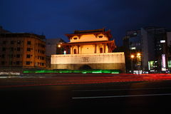 Tainan Dongmen City gate. Take the photo at Tainan Dongmen Rd for the night view Stock Photos