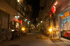 Tainan japan style building. Chinese style street at the night with red lantern Stock Photography