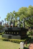 TAINAN, TAIWAN - APRIL 14, 2015. Chihkan Tower at Tainan, Taiwan on April 14, 2015. A statue at Fort Provintia showing a scene from the Dutch surrender to Royalty Free Stock Photos