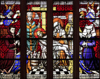 Tained glass window of Piety, Hotel Dieu, Beaune Royalty Free Stock Image