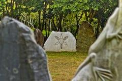 Taino刻在岩石上的文字 免版税库存照片