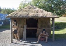 Taino Indische cijfers en Hut Stock Foto's