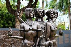 Taino, spanjor och afrikansk staty Arkivbilder