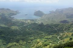 Taiohae Bay. A birds eye view of Taiohae bay on the island of Nuku Hiva, Marquesas islands, French Polynesia Stock Images