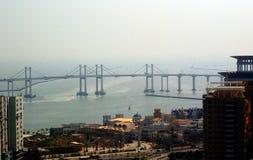 Taipa Bridge, Macao. Taipa Bridge over the bay in Macao Royalty Free Stock Photos
