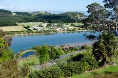 Taipa - Northland New Zealand NZ. Aerial view of Taipa town and river in Northland, New Zealand Stock Photo