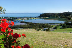 Taipa - Northland New Zealand NZ. Aerial view of Taipa town, river, inlet and Doubtless Bay at the background in Northland, New Zealand Royalty Free Stock Photography