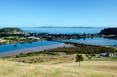 Taipa - Northland New Zealand NZ. Aerial view of Taipa town, river, inlet and Doubtless Bay at the background in Northland, New Zealand Royalty Free Stock Image