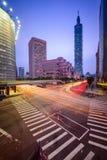 Taipeh, Taiwan Citsyscape en Kruising Royalty-vrije Stock Foto