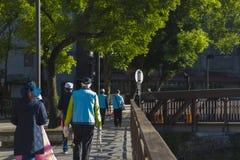 Taipeh, Taiwan, communautaire vrijwilligers, milieubescherming, vuilnis stock fotografie