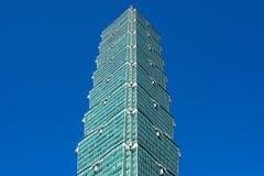 TAIPEH, TAIWAN - OKTOBER 9,2017: Schließen Sie herauf Ansicht von Wolkenkratzer Taipehs 101, Hauptstadt in neuem Taipeh Lizenzfreies Stockfoto