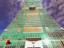 Taipeh 101 toren, mening van de voorzijde van de toren Stock Foto's