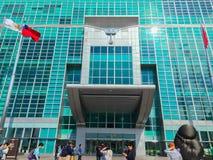 Taipeh 101 toren, mening van de voorzijde die van de toren, omhoog eruit zien Royalty-vrije Stock Foto
