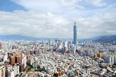 Taipei 101. Standing out in the heart of the city stock photo