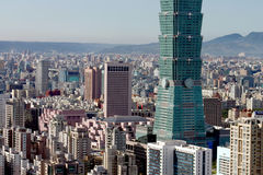 Taipei 101. The lower half of Taipei 101 and the rest of Taipei Royalty Free Stock Image