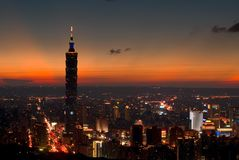 Taipei 101 Night. Night View of Taipei 101 and Taipei City stock images