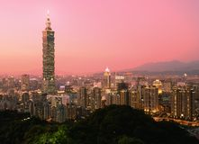 Taipei. Taiwan evening skyline royalty free stock images