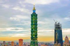 Taipei 101 afton sikt Royaltyfri Foto