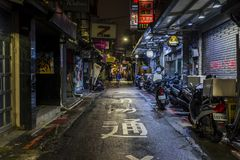 Taipei alley at night stock photos