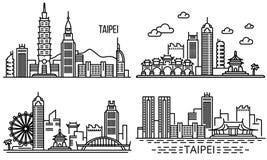 Taipei baneruppsättning, översiktsstil vektor illustrationer