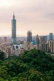Taipei. Beautiful cityscape of Taipei, Taiwan with Taipei 101 skyscraper on sunset stock images