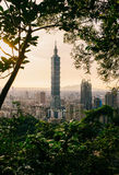 Taipei 101. Beautiful cityscape view of Taipei 101 in Taiwan on sunset Royalty Free Stock Photography