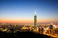 Taipei 101. The beautiful sunset and skyscraper at Taiwan Royalty Free Stock Image