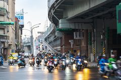 Taipei Bridge, Crowded of scooter in rainy day in Taipei city stock photography
