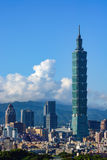 The Taipei 101 building towers over the urban landscape of Taiwan`s modern capital Stock Photo