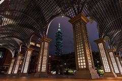 Taipei 101 byggande gränsmärke av Taipei, Taiwan Fotografering för Bildbyråer