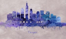 Taipei Capital of Taiwan, skyline. Taipei, the capital of Taiwan, a modern metropolis with Japanese colonial lanes, busy shopping streets and contemporary vector illustration