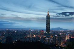 Taipei city. This is a view of Taipei City just after sunset stock image