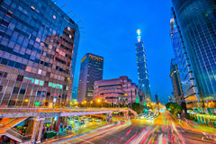 Taipei city center at night Royalty Free Stock Images