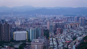 Taipei City covered with fog. stock photo