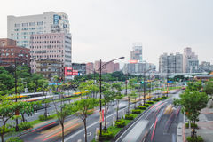 Taipei city downtown traffic, Taiwan. Taipei city megapolis downtown busy traffic street, Taiwan Stock Images