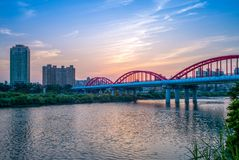 Night view of taipei by the river. Taipei City Guting Riverside Park - Zhongzheng and Yongfu Bridge at dusk in taipei city Royalty Free Stock Image