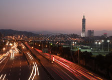 Taipei city night scene with cars motion lights Royalty Free Stock Photo